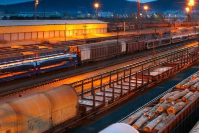 A railyard by night. Transportation is one of the markets served by VIZIYA.