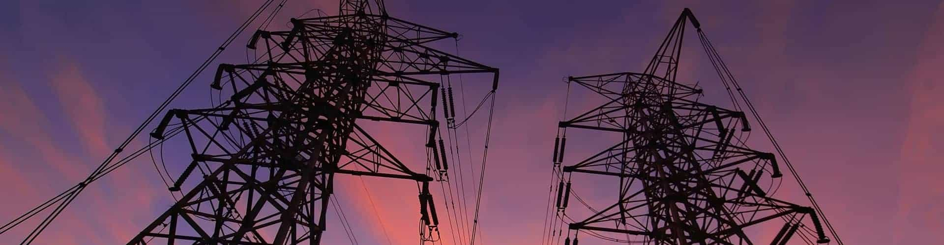 Electrical transmission towers. VIZIYA serves the Utilities market.